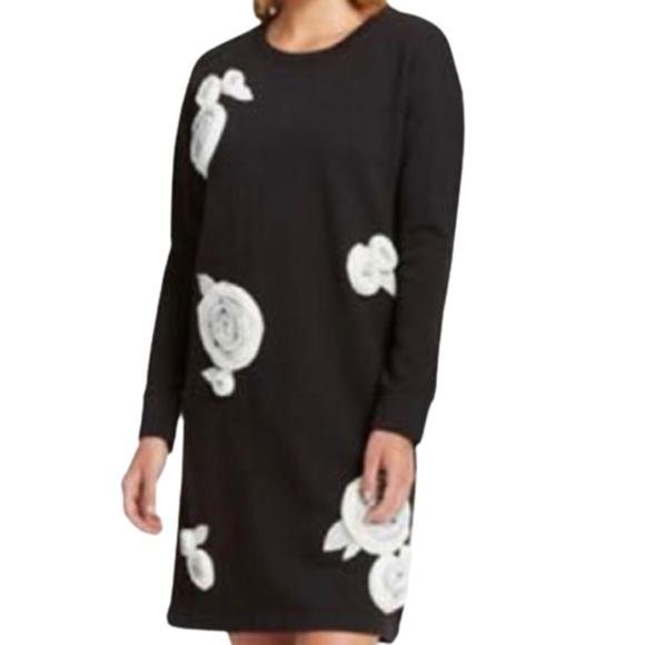 Lord & Taylor Floral Appliqué Sweatshirt Dress M